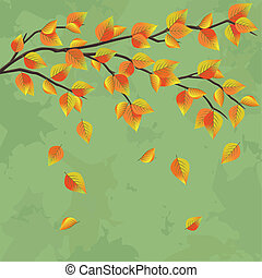 Vintage autumn background with tree branch and leaf fall,...