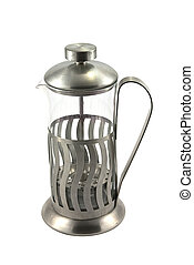 French press for making coffee and tea, on white