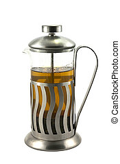 French press with tea - French press with hot tea, on the...