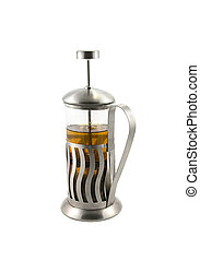 French press with tea - French press with hot tea on the...