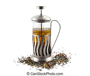 French press with tea - French press for making coffee and...