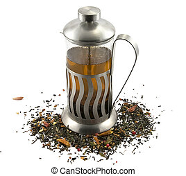 French press with tea - French press with hot green tea over...
