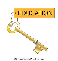 Education Is The Key - Vector illustration of key and tag...