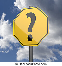 Road sign Yellow with Question Mark on blue sky background