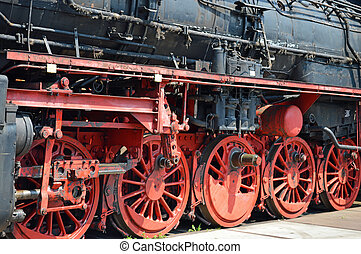 Wheels of historical German Steam train