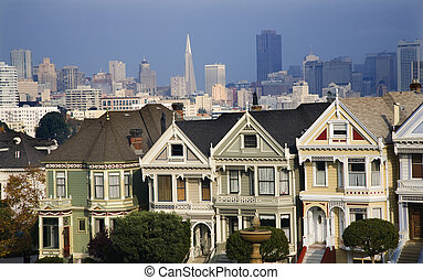 Victorian Houses Modern Skyscrapers San Francisco Skyline...