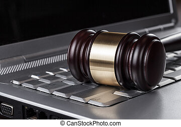 judge gavel on computer concept - judge gavel on computer...