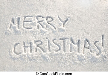 Merry christmas text on snow - Written words Merry christmas...