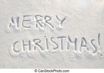 texto, nieve, alegre, navidad