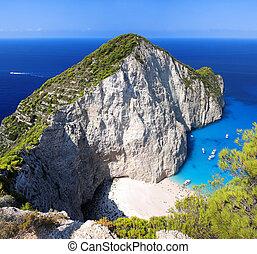 Navagio beach in Zakynthos, Greece