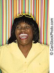 Smiling laughing woman.