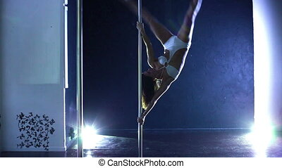 Pole dance. - Pole dance woman.