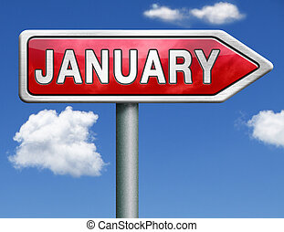 January pointing to first month of the next year road sign...