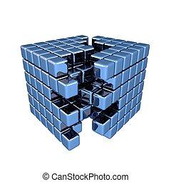 3D Blue Cube - Separation