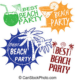 Set of beach party stamps - Set of beach party grunge rubber...