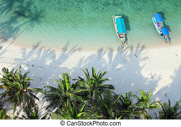 aerial shot of tropical beach - High angle shot of a...