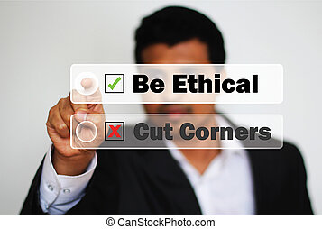 Male Professional Choosing to be ethical instead of cutting...