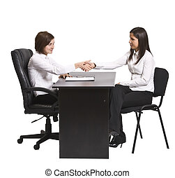 The deal - Two businesswomen shaking hands over the office...