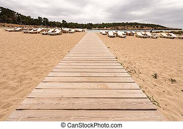 Beach way to Bassa beach in Ibiza Balearic islands