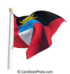 Antigua and Barbuda - 3D Generated flag of Antigua and...