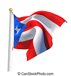 Puerto Rico - 3D Generated flag of Puerto Rico