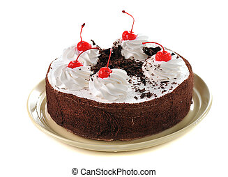 chocolate cake with  cherry and whipping cream