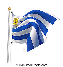Uruguay - 3D Generated flag of Uruguay