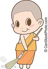 Monk sweeping the floor.