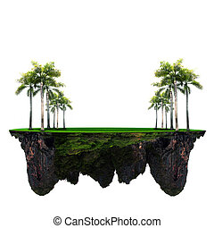 palm tree and green grass field on floating island use for...