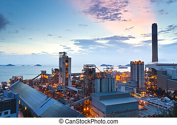 Sunset at power plant in Hong Kong
