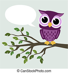 cute baby owl sitting on a branch with text balloon