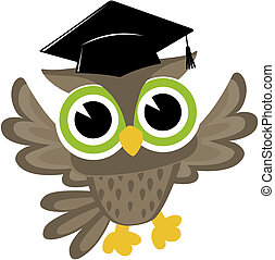 baby owl cartoon graduated - happy baby owl cartoon wearing...