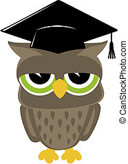 wise owl vector - relaxed baby owl cartoon wearing a...