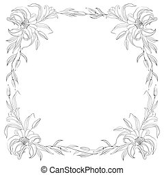 Lily frame for invitations.  illustration.