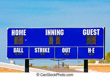 Baseball scoreboard with blue sky - Baseball scoreboard with...