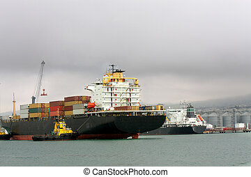 Cargo vessel at an entrance to seaport - Sea cargo vessel...