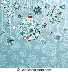 Blue background with christmas balls. EPS 8