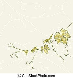Branch of vine leaves.  illustration.