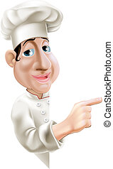 Side Pointing Chef - A fun cartoon chef pointing sideways at...
