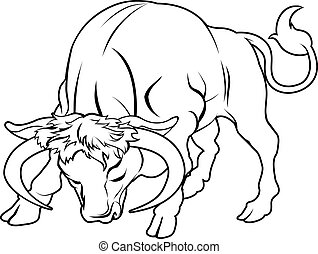 Stylised bull illustration - An illustration of a stylised...