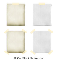 note paper taped and pined on white background