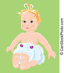 Red hair Baby Girl dressing pampers isolated on green background