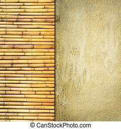 Concrete and bamboo background