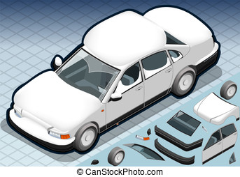 Isometric Snow Capped White Car in Front View - Detailed...