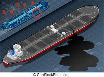 Isometric Ship Tanker Leaky Oil in Rear View - Detailed...