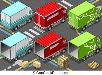 Isometric Delivery Truck in Three Livery - Detailed...