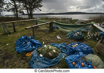 First nations fishery. Gill nets drying in sun. - First...