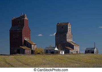 Prairie Grain Elevators - Old grain elevators found in the...