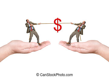 Two businessmen pull a cord, isolated over a white...
