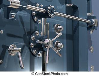 Bank Vault Close up - Illustration of a secure bank vault up...